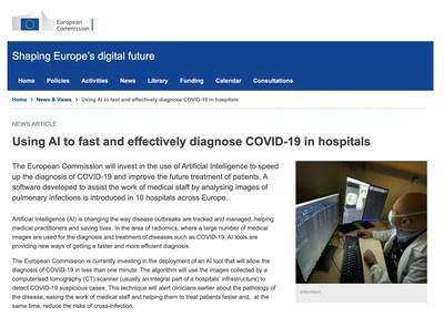 La visión de la Comisión Europea con respecto a InferVision: uso de la IA para diagnosticar rápida y eficazmente la COVID-19 en los hospitales (PRNewsfoto/InferVision AI)